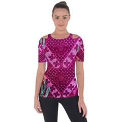 Pink Batik Cloth Fabric Short Sleeve Top