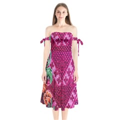 Pink Batik Cloth Fabric Shoulder Tie Bardot Midi Dress