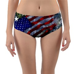 Usa United States Of America Images Independence Day Reversible Mid Waist Bikini Bottoms