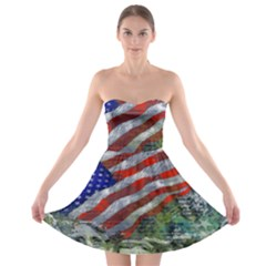 Usa United States Of America Images Independence Day Strapless Bra Top Dress by BangZart