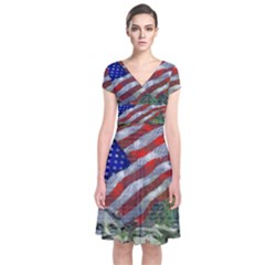 Usa United States Of America Images Independence Day Short Sleeve Front Wrap Dress by BangZart