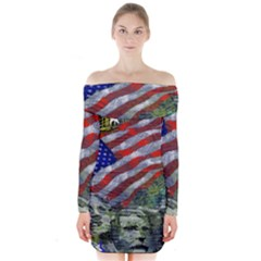 Usa United States Of America Images Independence Day Long Sleeve Off Shoulder Dress by BangZart