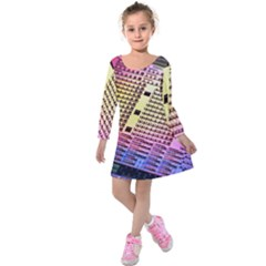Optics Electronics Machine Technology Circuit Electronic Computer Technics Detail Psychedelic Abstra Kids  Long Sleeve Velvet Dress by BangZart