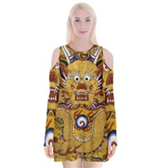 Chinese Dragon Pattern Velvet Long Sleeve Shoulder Cutout Dress by BangZart