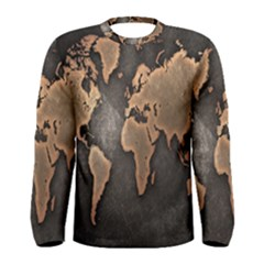 Grunge Map Of Earth Men s Long Sleeve Tee