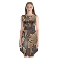 Grunge Map Of Earth Sleeveless Chiffon Dress