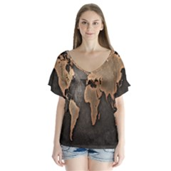 Grunge Map Of Earth Flutter Sleeve Top