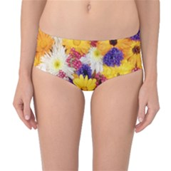 Colorful Flowers Pattern Mid Waist Bikini Bottoms