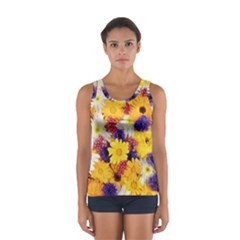 Colorful Flowers Pattern Sport Tank Top