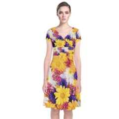 Colorful Flowers Pattern Short Sleeve Front Wrap Dress