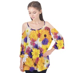 Colorful Flowers Pattern Flutter Tees