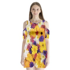 Colorful Flowers Pattern Shoulder Cutout Velvet  One Piece