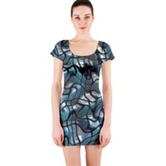 Old Spiderwebs On An Abstract Glass Short Sleeve Bodycon Dress