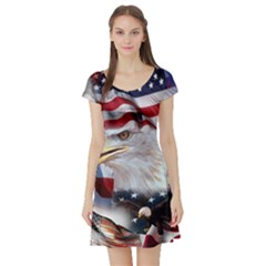 United States Of America Images Independence Day Short Sleeve Skater Dress