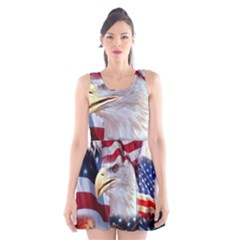 United States Of America Images Independence Day Scoop Neck Skater Dress by BangZart