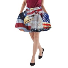 United States Of America Images Independence Day A Line Pocket Skirt by BangZart