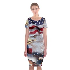 United States Of America Images Independence Day Classic Short Sleeve Midi Dress by BangZart
