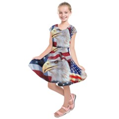United States Of America Images Independence Day Kids  Short Sleeve Dress by BangZart