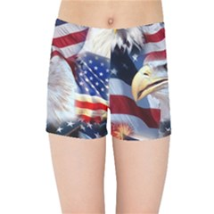 United States Of America Images Independence Day Kids Sports Shorts by BangZart