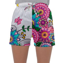 Flowers Pattern Vector Art Sleepwear Shorts