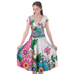 Flowers Pattern Vector Art Cap Sleeve Wrap Front Dress