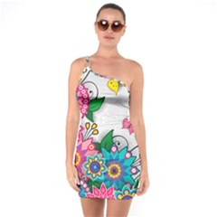 Flowers Pattern Vector Art One Soulder Bodycon Dress