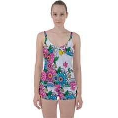 Flowers Pattern Vector Art Tie Front Two Piece Tankini