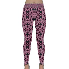 Triangle Knot Pink And Black Fabric Classic Yoga Leggings