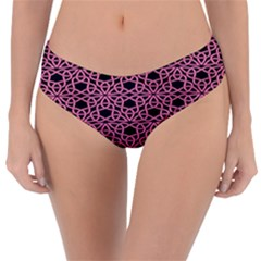 Triangle Knot Pink And Black Fabric Reversible Classic Bikini Bottoms