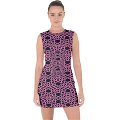 Triangle Knot Pink And Black Fabric Lace Up Front Bodycon Dress