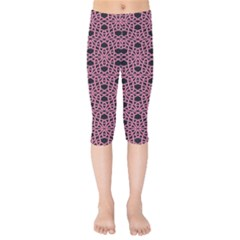 Triangle Knot Pink And Black Fabric Kids  Capri Leggings  by BangZart