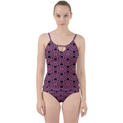 Triangle Knot Pink And Black Fabric Cut Out Top Tankini Set by BangZart