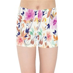 Vector Floral Art Kids Sports Shorts