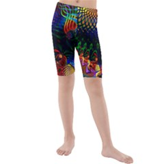 Colored Fractal Kids  Mid Length Swim Shorts
