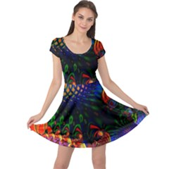 Colored Fractal Cap Sleeve Dresses by BangZart