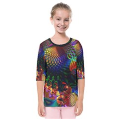 Colored Fractal Kids  Quarter Sleeve Raglan Tee