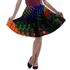 Colored Fractal A Line Skater Skirt