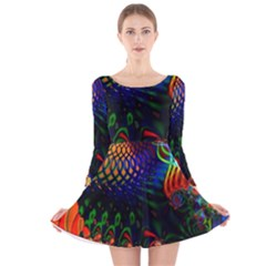 Colored Fractal Long Sleeve Velvet Skater Dress