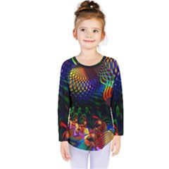 Colored Fractal Kids  Long Sleeve Tee