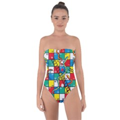 Snakes And Ladders Tie Back One Piece Swimsuit