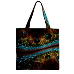 Fractal Snake Skin Zipper Grocery Tote Bag