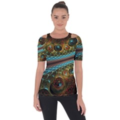 Fractal Snake Skin Short Sleeve Top by BangZart