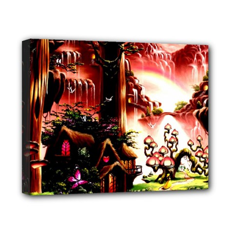 Fantasy Art Story Lodge Girl Rabbits Flowers Canvas 10  X 8  by BangZart