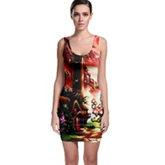 Fantasy Art Story Lodge Girl Rabbits Flowers Bodycon Dress by BangZart