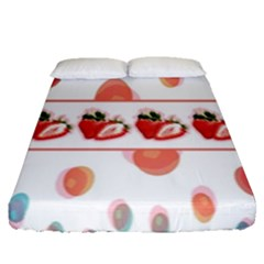 Strawberries Fitted Sheet (queen Size) by SuperPatterns