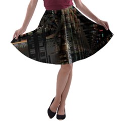 Blacktechnology Circuit Board Electronic Computer A Line Skater Skirt by BangZart