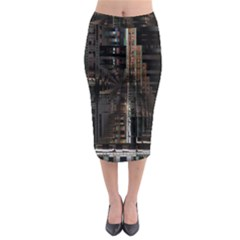 Blacktechnology Circuit Board Electronic Computer Midi Pencil Skirt