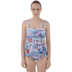 Book Collage Based On Confess Twist Front Tankini Set