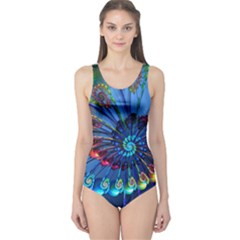Top Peacock Feathers One Piece Swimsuit