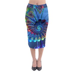 Top Peacock Feathers Midi Pencil Skirt by BangZart